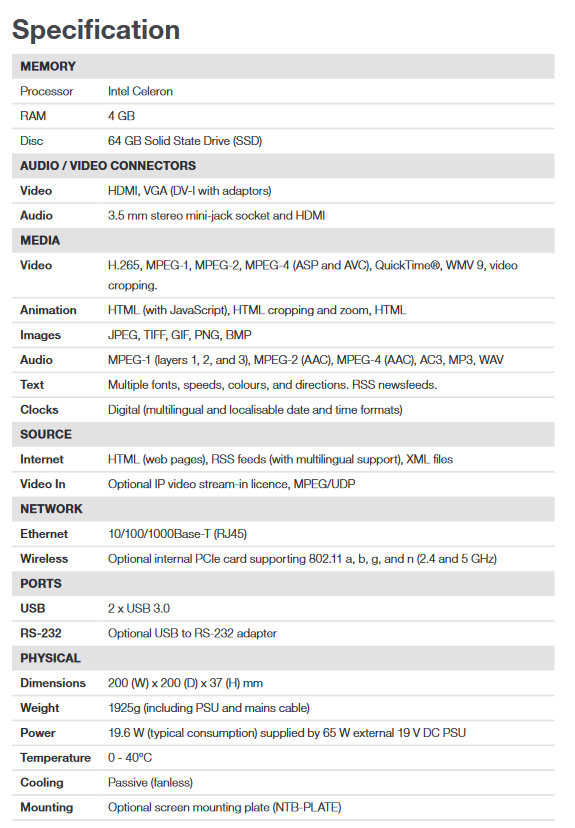 ONELAN NTB-HD-10 Standard Digital Signage Player - Screenshot 2020 06 30 NTB HD 10 5th Gen Datasheet pdf