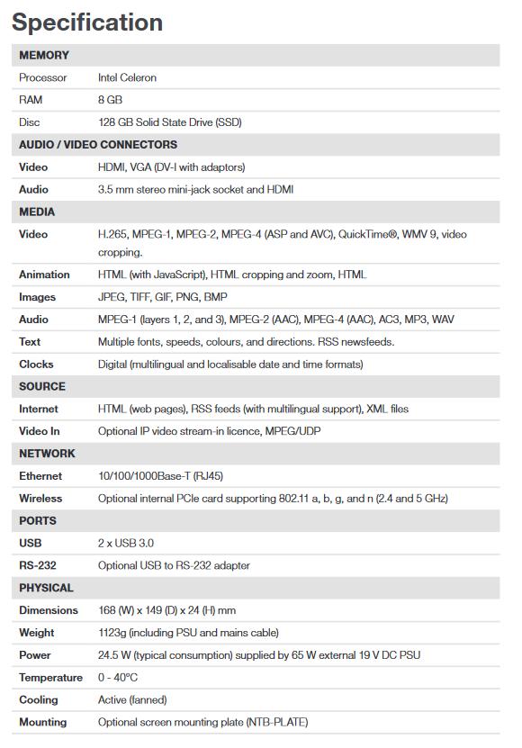 ONELAN NTB-HD-100F Mid-Range Digital Signage Player - Screenshot 2020 06 30 NTB HD 100F 5th Gen Datasheet pdf