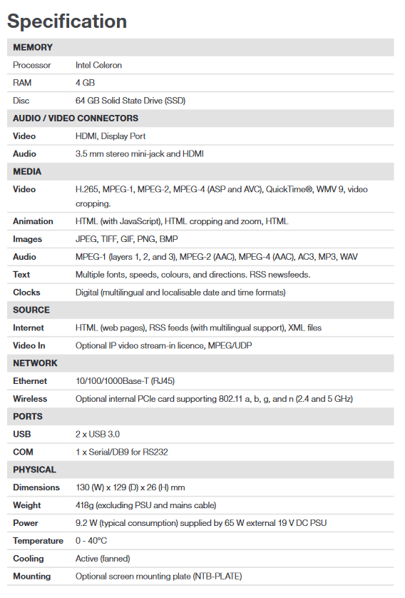 ONELAN NTB-HDN-10F Unlimited Zone HD Signage Player - Screenshot 2020 06 30 NTB HDN 10F 7th Gen Datasheet pdf