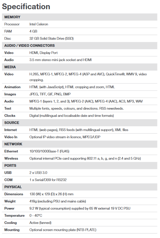 ONELAN NTB-HDN-1F Multizone HD Signage Player - Screenshot 2020 06 30 NTB HDN 1F 7th Gen Datasheet pdf