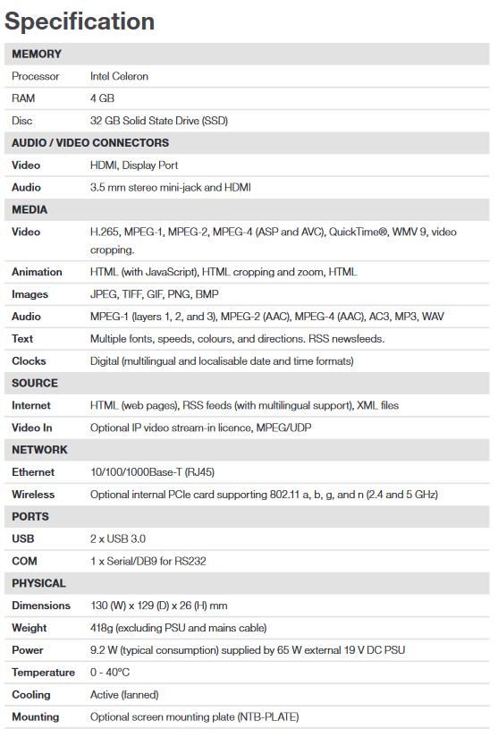 ONELAN NTB-HDN-RTL1F Single Zone HD Signage Player - Screenshot 2020 06 30 NTB HDN RTL1F 7th Gen Datasheet 1 pdf