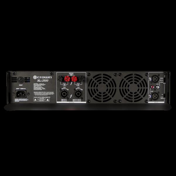 Crown XLi 2500 power amplifier (dual channel, 750W at 4Ω) - XLi 2500 back no top shadow original