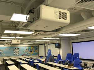 The advanced projector and audio system help students learn more efficiently.